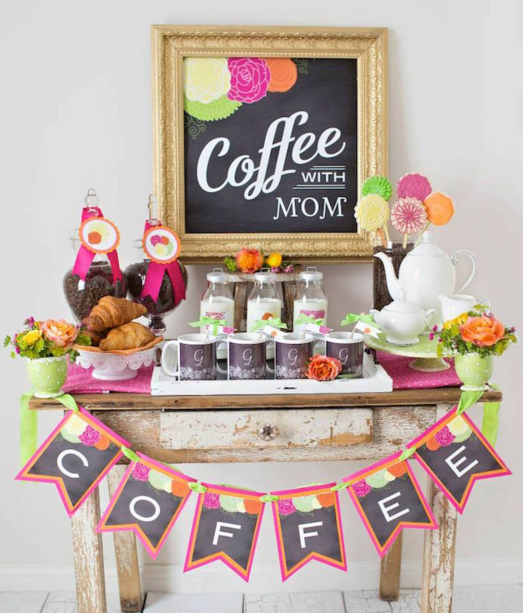 Mother's Day baby shower ideas coffee with mom