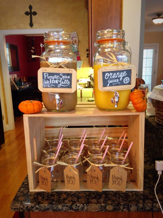 Halloween Baby Shower Drink Ideas, Beverages, Fall Baby Shower Ideas