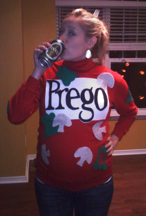 Spaghetti & alcohol-free beer: halloween pregnancy announcement idea