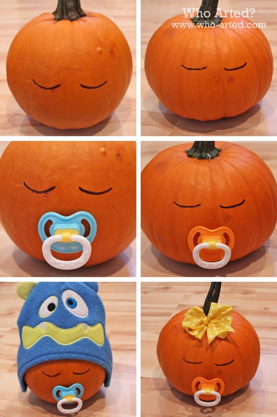 Halloween Baby Shower, Decoration Ideas, Inspiration, Pumpkin with Pacifier