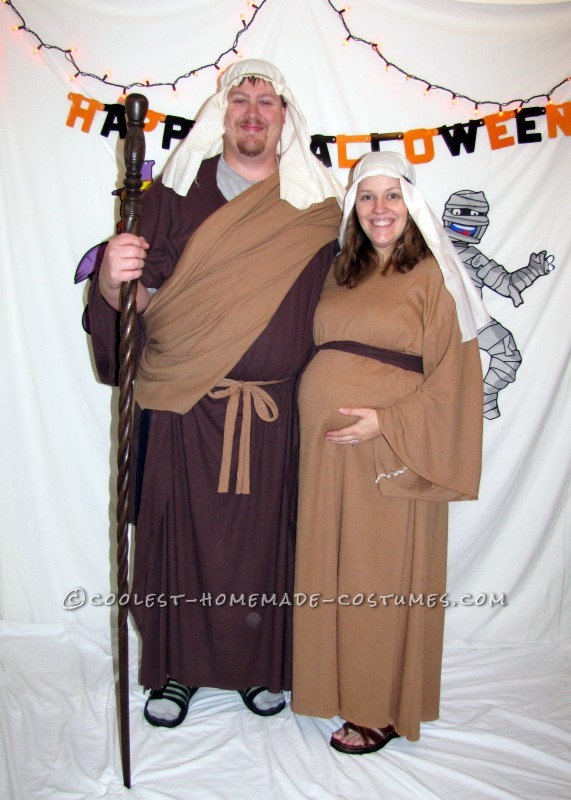 Mary and Joseph halloween costume for pregnant couples