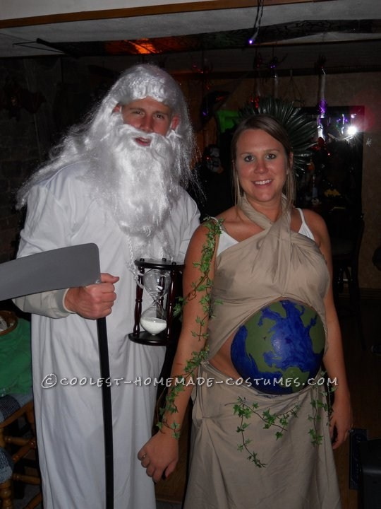 Father Time and Mother Earth halloween costume for pregnant couples