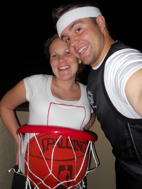 Halloween Costumes for Pregnant Couples, Basketball Player and Pregnant Wife, Funny Costume Ideas