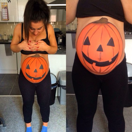 Halloween Belly Painting, Halloween Pregnancy Painting Ideas, Pumpkin