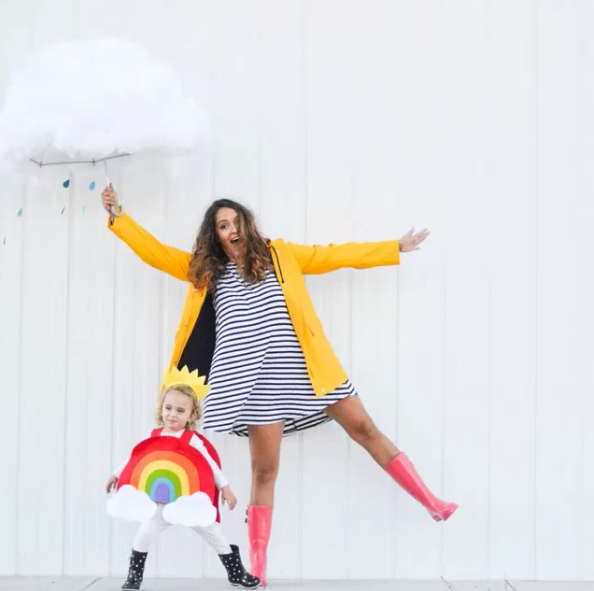 cloud-rainbow halloween costume for pregnant moms