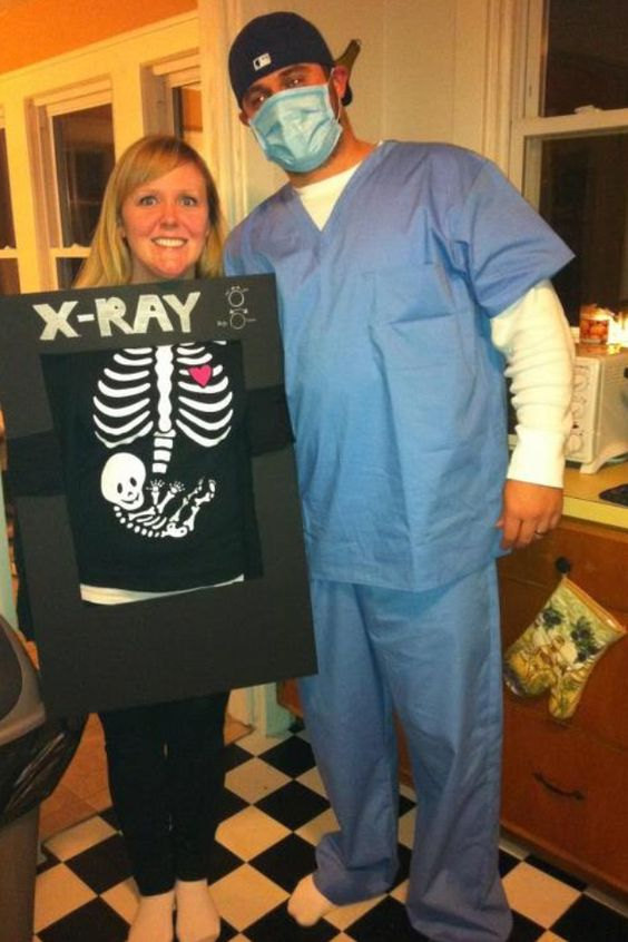 Halloween Costumes for Pregnant Couples, Doctor and X-Ray Costume for Pregnant Couples