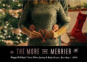 Pregnancy announcement in Christmas card candy cane
