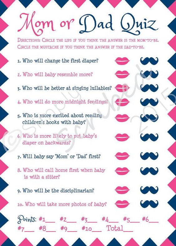 Baby Shower Games, Funny Games, Mom or Dad