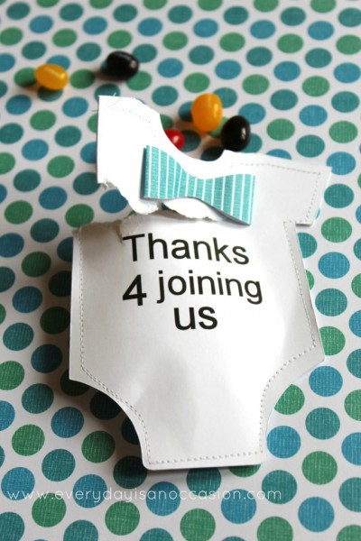 Goodie Filled Onesies baby shower favor idea