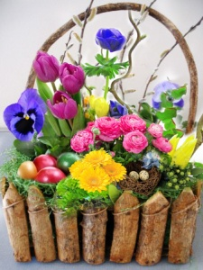 Easter basket for your pregnant wife with flowers