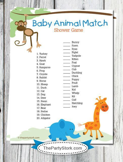 Baby Shower Game, Baby Animal Match, Fun Games