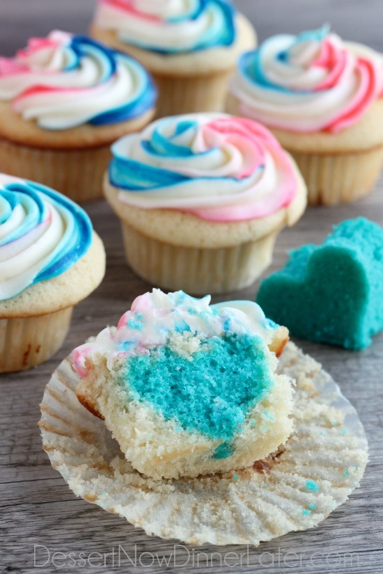 Secretive heart cupcakes gender reveal cake ideas