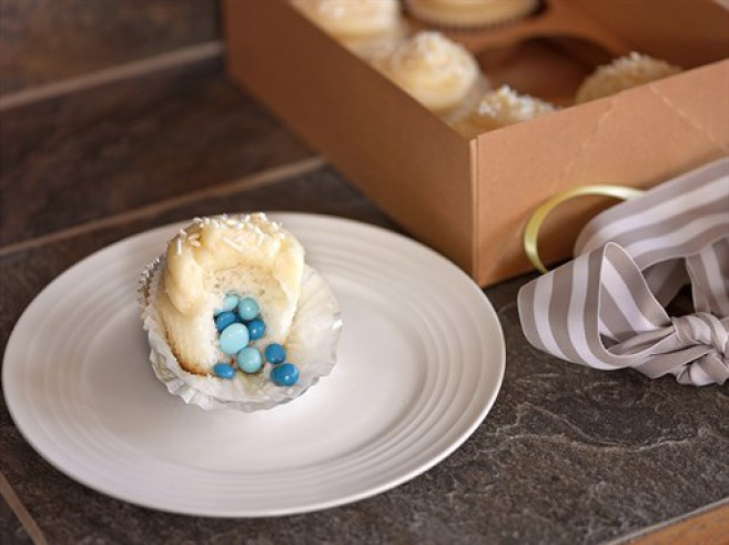Candy cupcakes gender reveal cake ideas