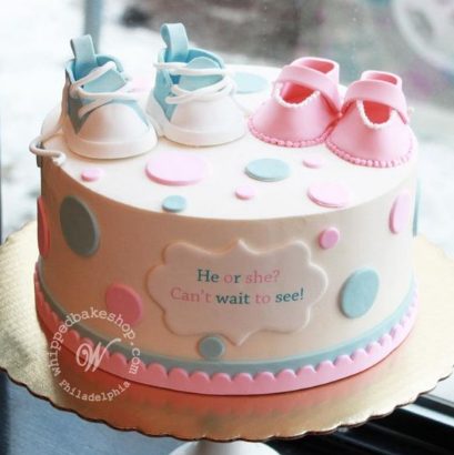 Polka dots with tiny baby shoes gender reveal cake ideas