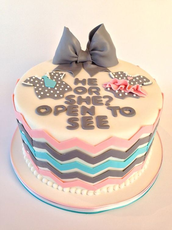 He or she? Open to see…gender reveal cake ideas