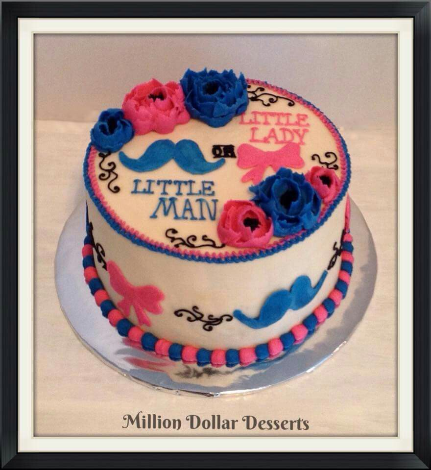 Little Lady or Little Man cake gender reveal cake ideas