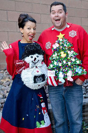 Ugly Christmas sweater pregnancy announcement homemade