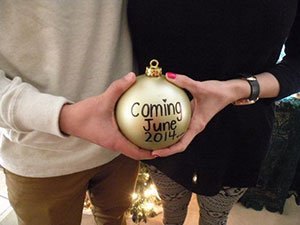 Pregnancy announcement Christmas gold ornament