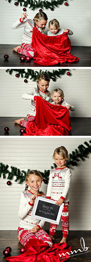 (via Pinterest) Christmas Pregnancy Announcement Kids In Santas Sack