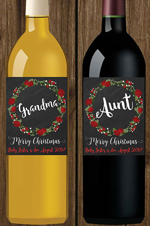 Christmas pregnancy announcement family wine bottles