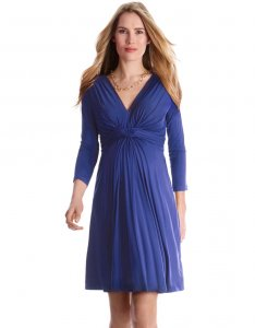 What to Wear to a Baby Shower in Winter - Blue Dress
