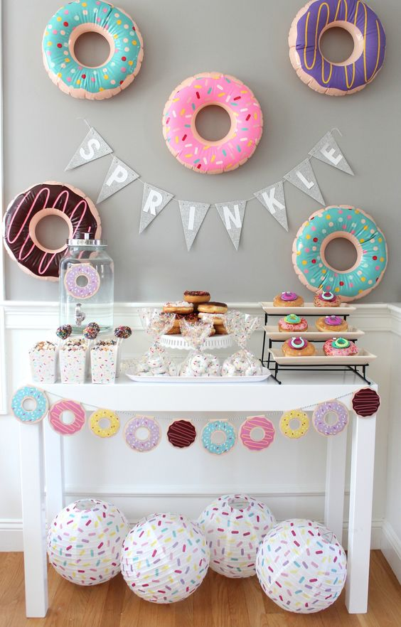 Baby Shower, Donuts, Baby Shower Theme, Colorful