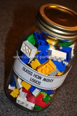 Baby Shower Game, Lego, Mason Jar